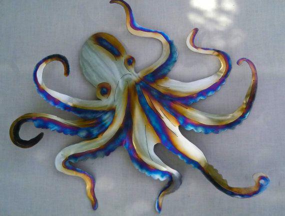 Octopus Octopi Octopuses Steel Wall Art Metal Ocean Beach Etsy In 2020 Steel Wall Art Art Wall Art