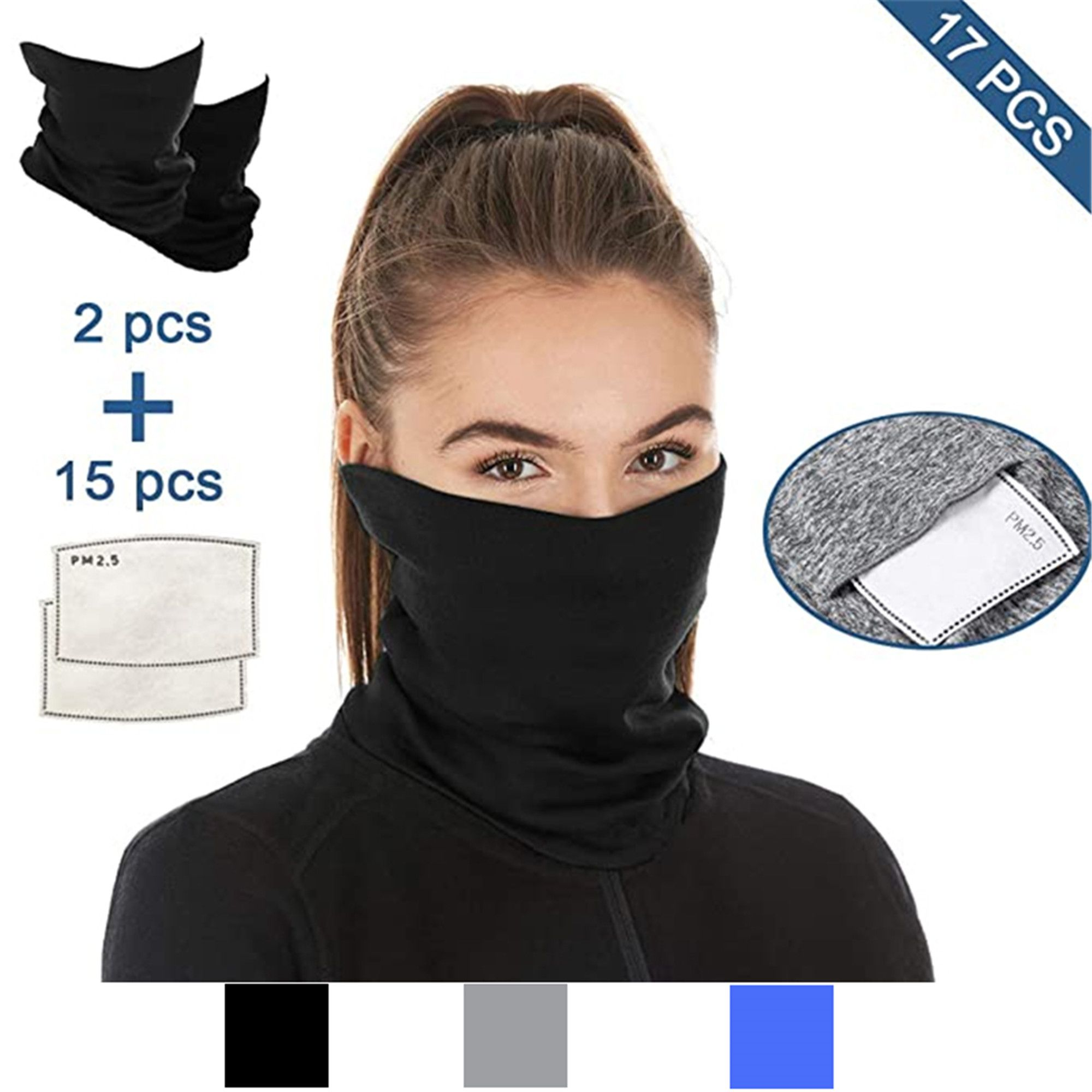 Face Mouth Cover Bandanas Mens Neck Gaiter Scarf Headband Womens face Scarves for Outdoors 2pcs