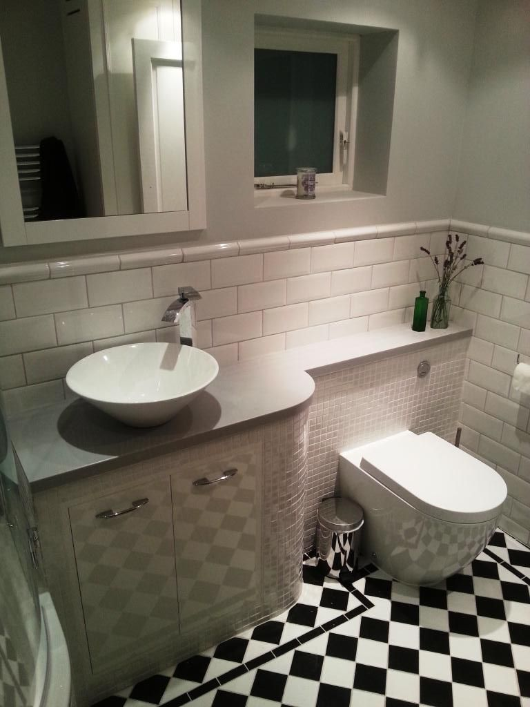 Might work combo of mosaic tiles and metro tiles dado for Small fitted bathrooms
