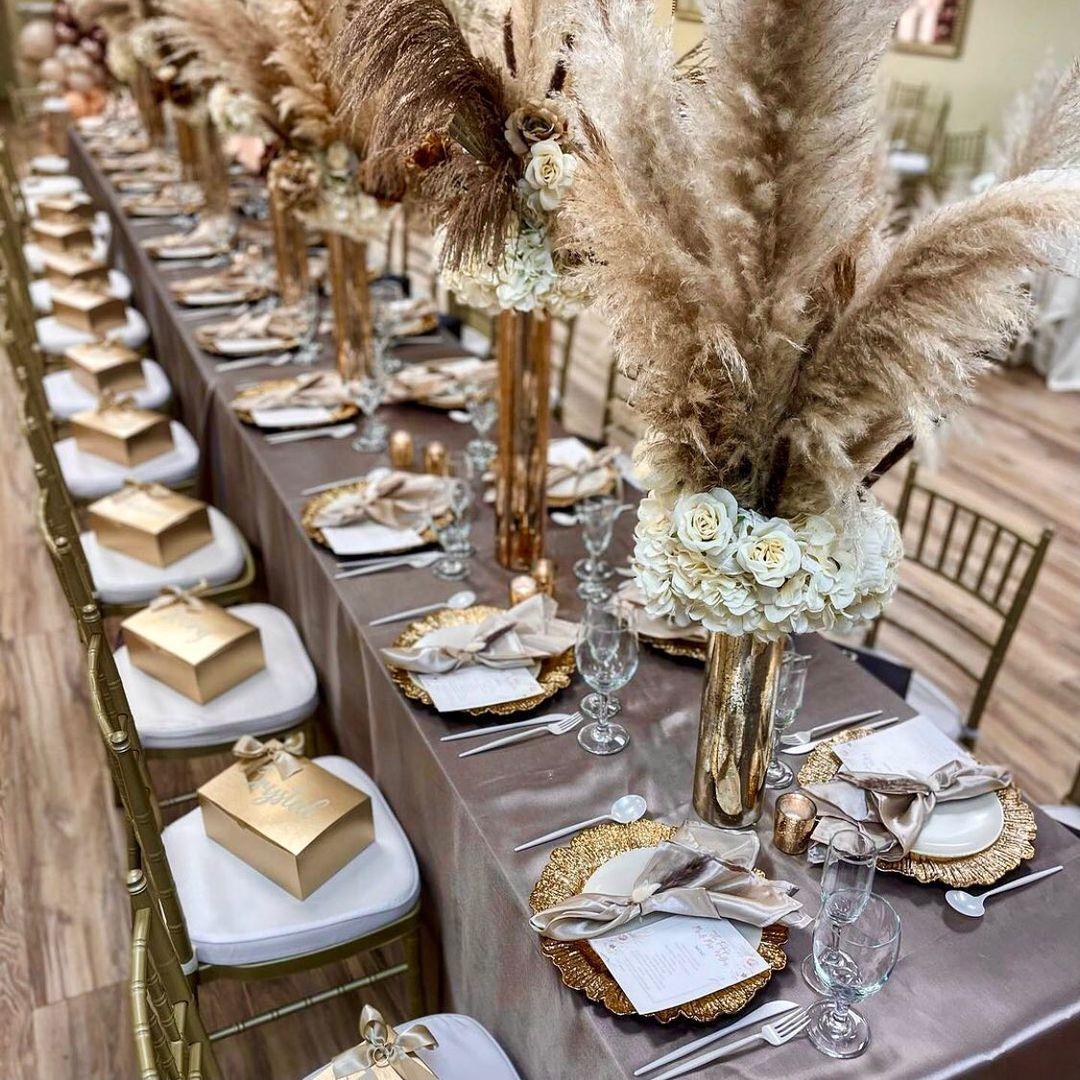 Satin Rectangular 90 X132 Tablecloth Taupe In 2021 Rustic Wedding Table Setting Wedding Table Centerpieces Elegant Boho Wedding Theme