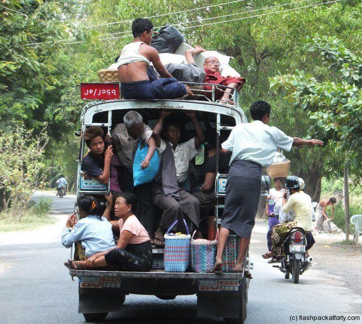 Packed Bus in Myanmar