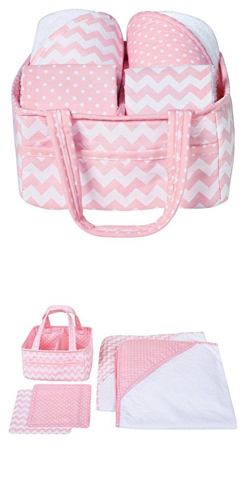 Trend Lab 5 Piece Baby Bath Gift Set, Pink Sky | Baby Bathing Gift ...