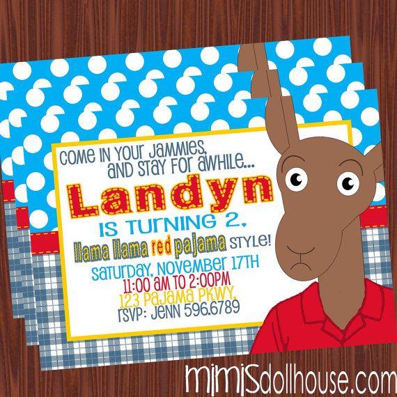 Llama Invitation Printable Llama Red Pajama By