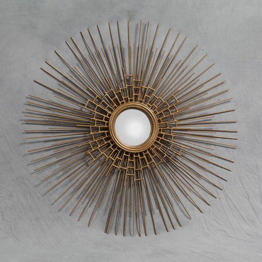 Round Antique Gold Sun Spike Webbed Metal Convex / Fisheye Mirror ...