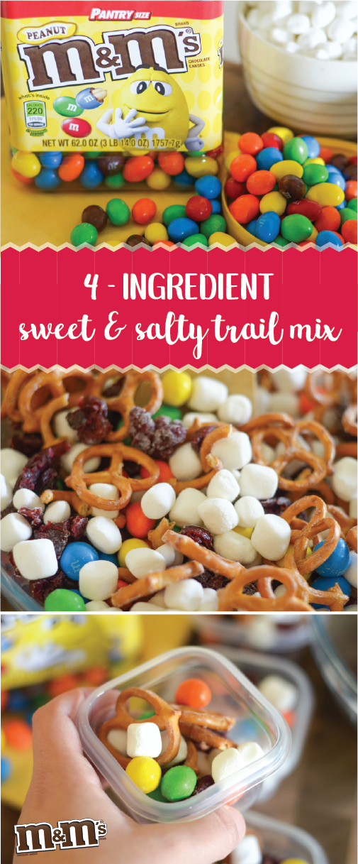 Making the most of summer break with a family vacation? Be prepared for kid-friendly travel when you check out these Road Trip Tips and this recipe for Sweet & Salty Trail Mix! Using the M&M'S® Peanut Chocolate Candy Pantry Size Jar, pretzels, mini marshmallows, and dried cranberries you can pack up a tasty treat the whole family will love. Pick up everything you need at Sam's Club today and get ready to enjoy the journey as much as your final destination!
