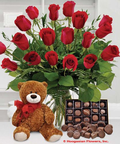 Red Roses Chocolates And Brown Teddy Bear Hoogasian Flowers