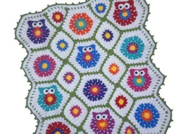 Häkelanleitung Baby Decke Kinder Decke Kunterbunte Eulen Mit