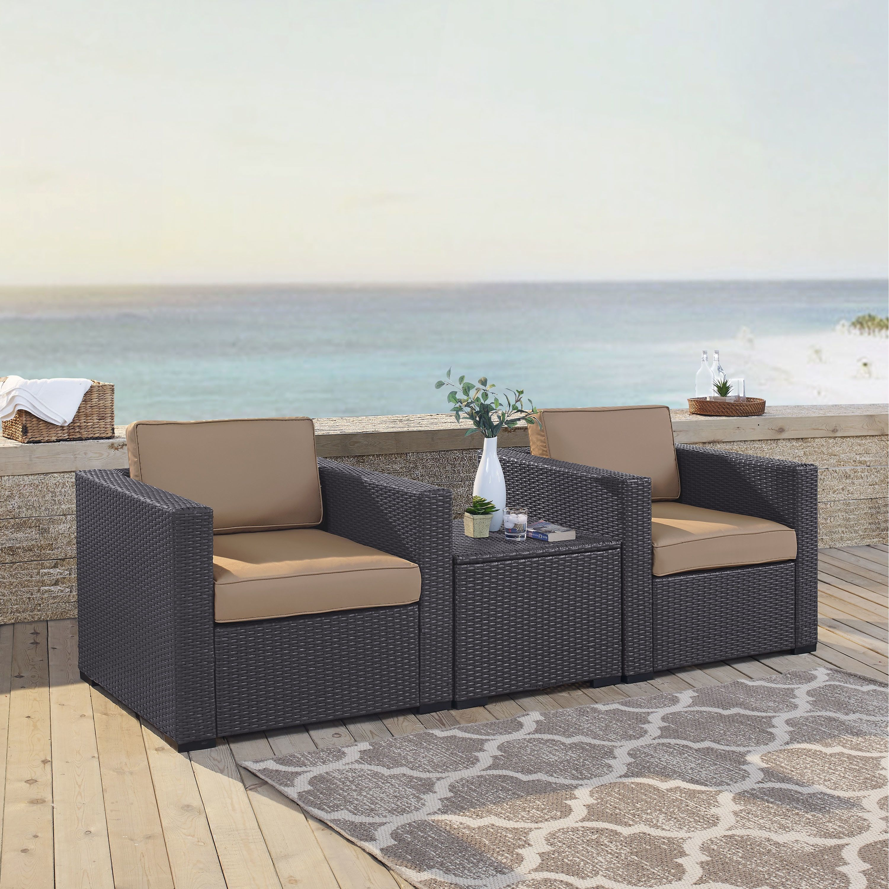 Crosley Furniture Biscayne Mocha Wicker Steel 3 Piece Seating Set With 2 Outdoor Chairs And Coffee Table Two Brown