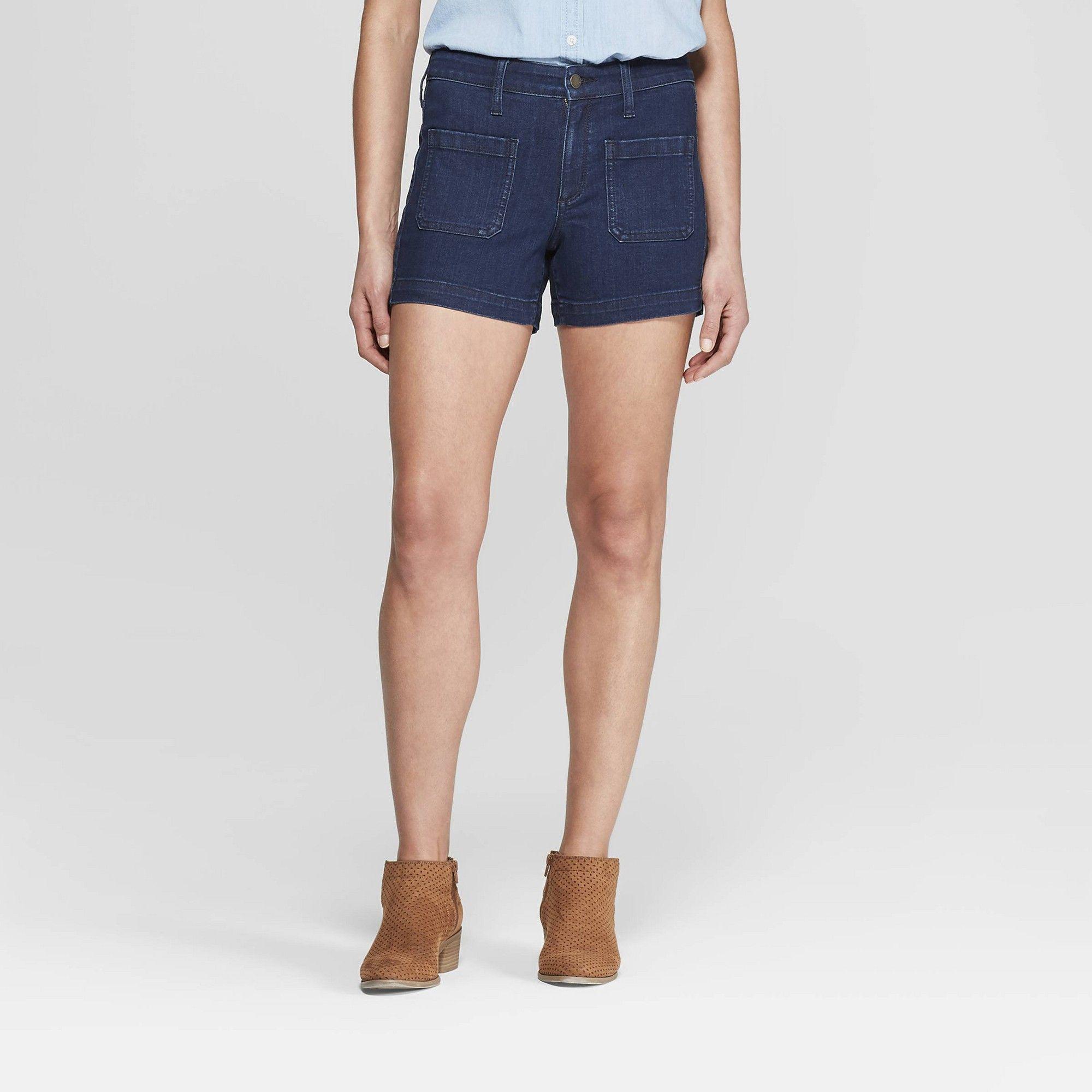 Universal Thread Women/'s Stretch High-Rise Midi Jean Shorts