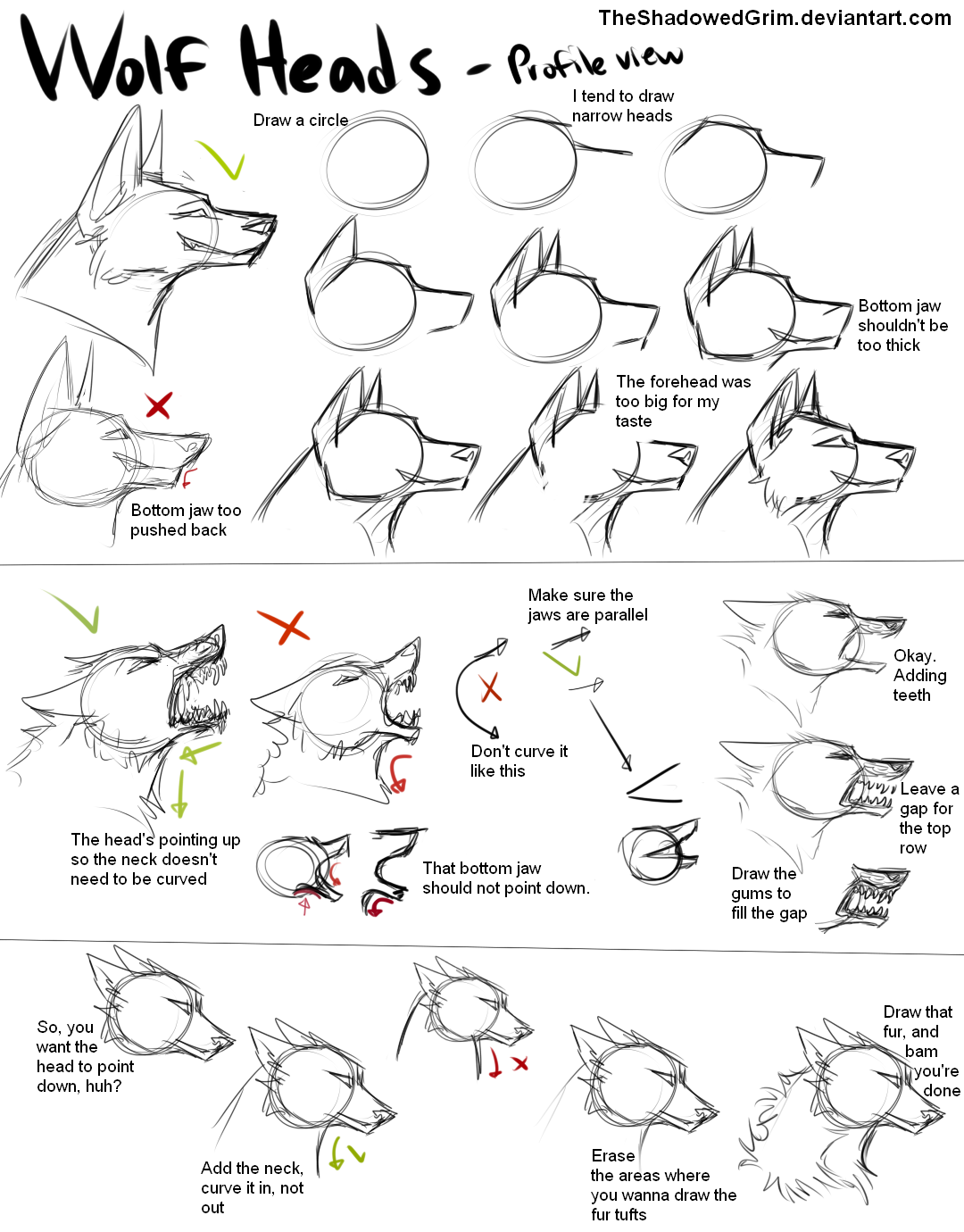 How I Draw Wolf Heads By Theshadowedgrimiantart On @deviantart