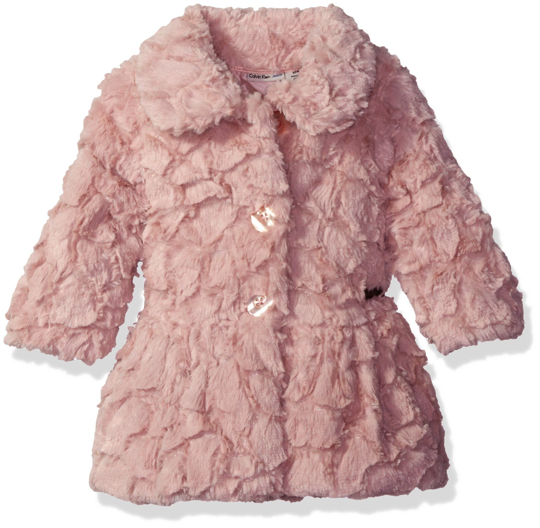 Calvin Klein Baby Girls Faux Fur Jacket Light Pink 24m Girls Faux Fur Jacket Long Sleeve Faux Fur Coat Calvin Klein Baby