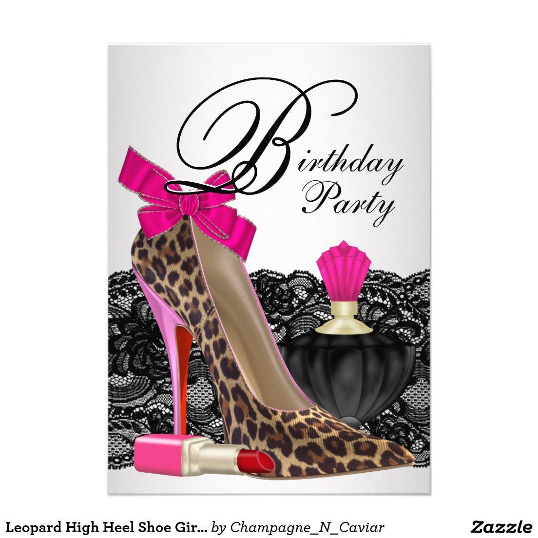 Leopard High Heel Shoe Girly Birthday Party Card | High heel ...
