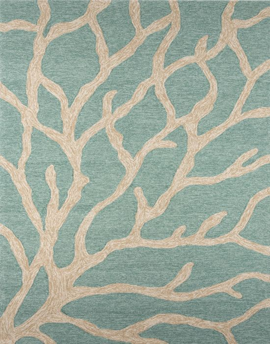 Coastal Lagoon Coral Teal Latte Indoor Outdoor Rug Indoor