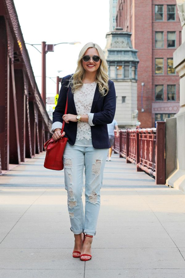 Blogger songofstyle in our EVA girlfriend jeans, jacket and heels ...