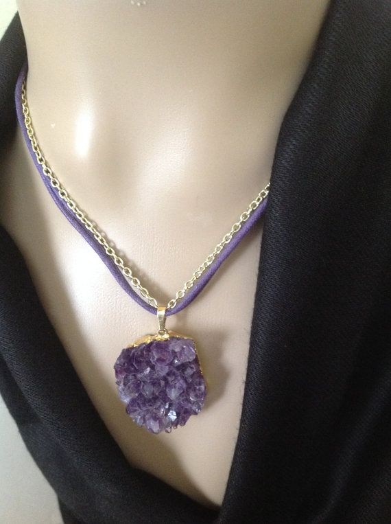 Raw amethyst pendant necklace purple natural stone jewelry raw amethyst pendant necklace purple natural stone jewelry aloadofball Image collections