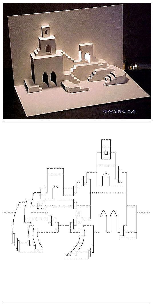 Diy A Small Castle Pop Up Card Templates Pop Up Cards Kirigami Templates