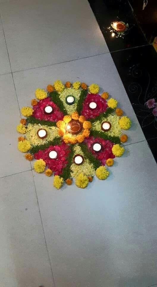 Pin By Sakshi Padte On Diwali Decor Rangoli Designs Flower Flower Decorations Diy Flower Rangoli