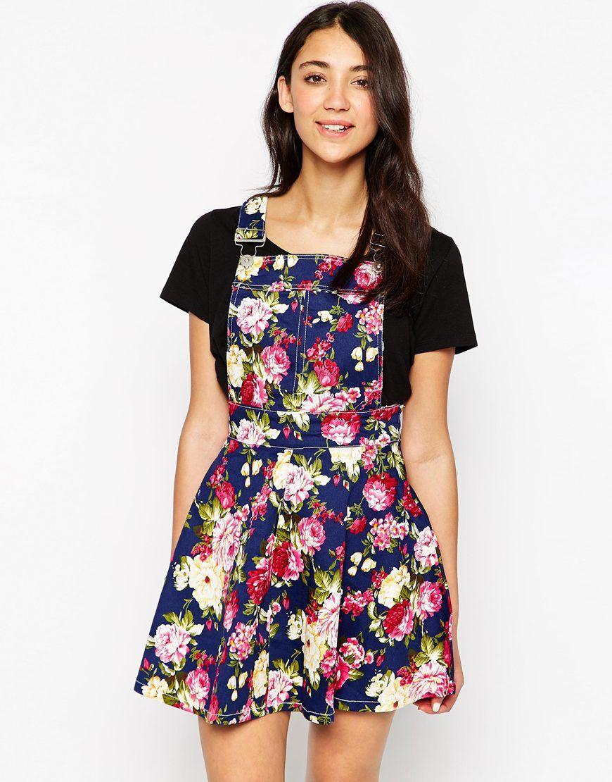 2972e0c1486 Image 1 of Brave Soul Floral Denim Overall Dress