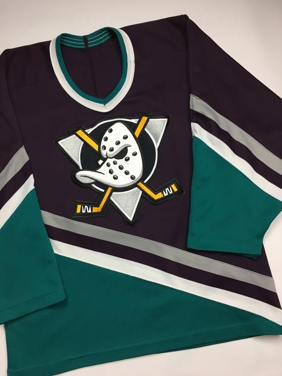 low priced 365b8 90b3c 1990s Vintage Anaheim Mighty Ducks CCM Hockey Jersey ...