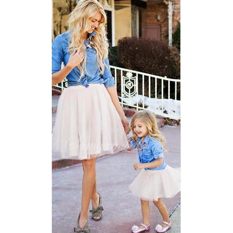 67c989a1c7c Bring some sass to your next family photo session with these adorable two  piece outfits. Featuring a fluffy tutu skirt and matching long sleeved denim  top