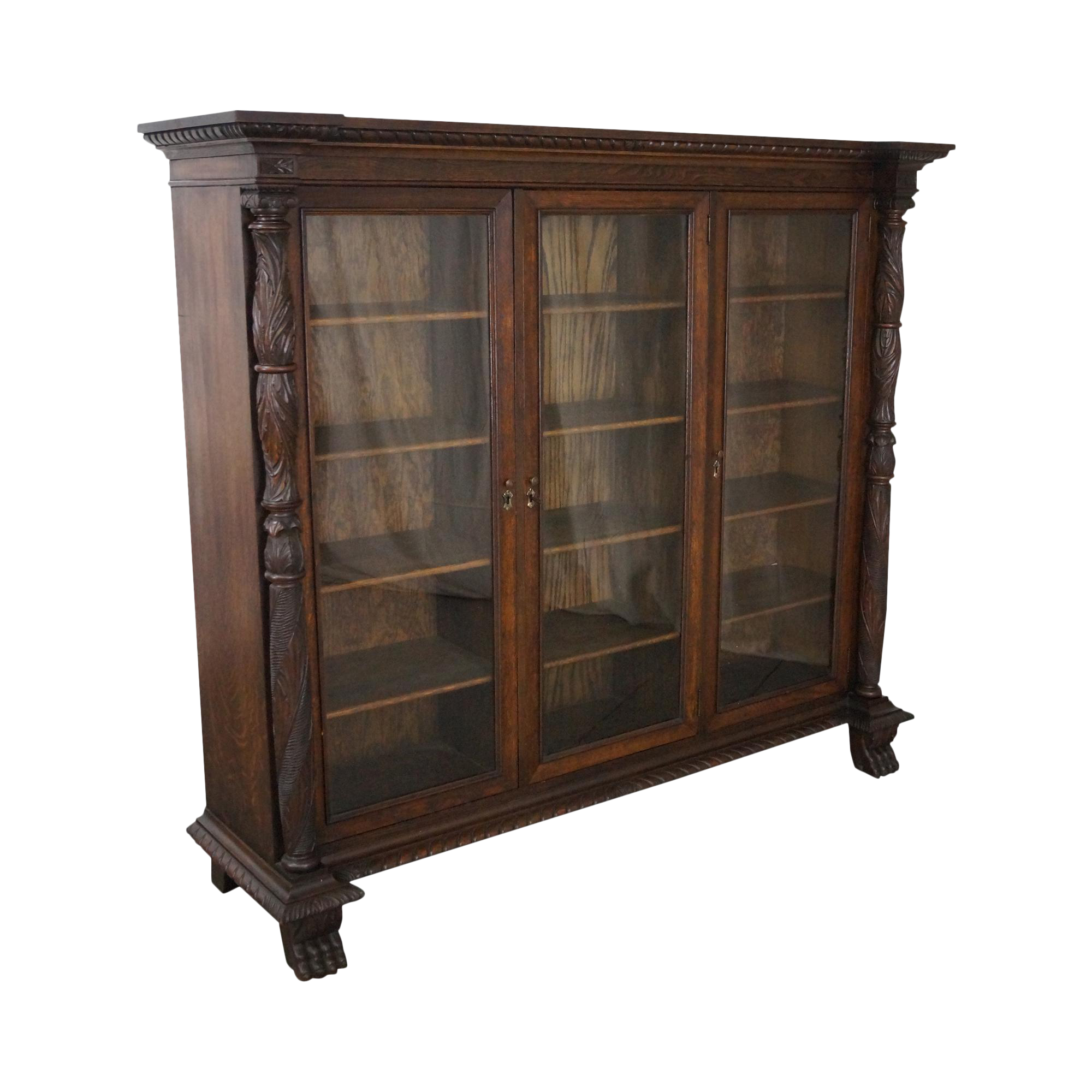 Antique Oak Claw Foot Bookcase