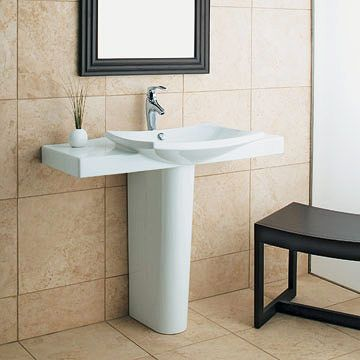Extra Shelf Room On The Sides Of Your Pedestal Sink Leave Space For Your  Smaller Items.