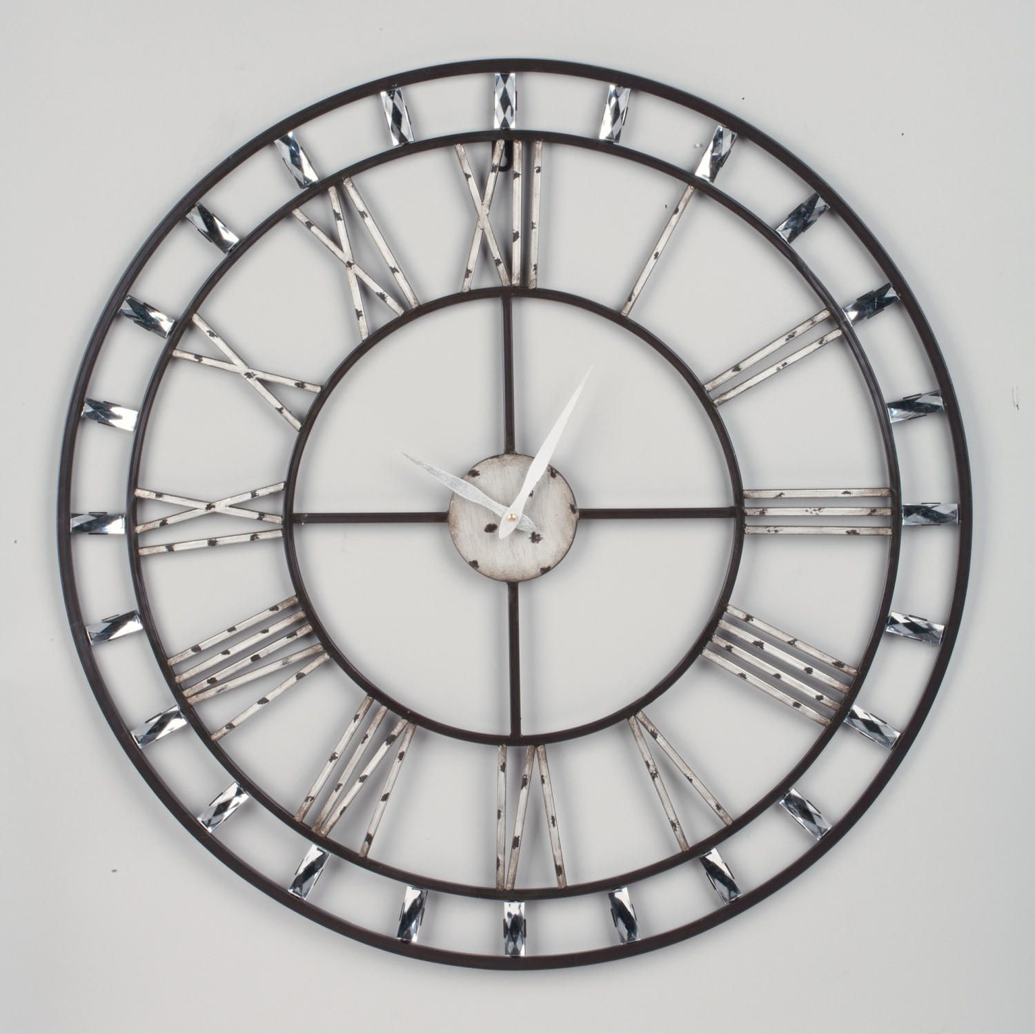 Metal wall clock roman numerals roman numeral wall clock with clear acrylic beads tripar amipublicfo Image collections