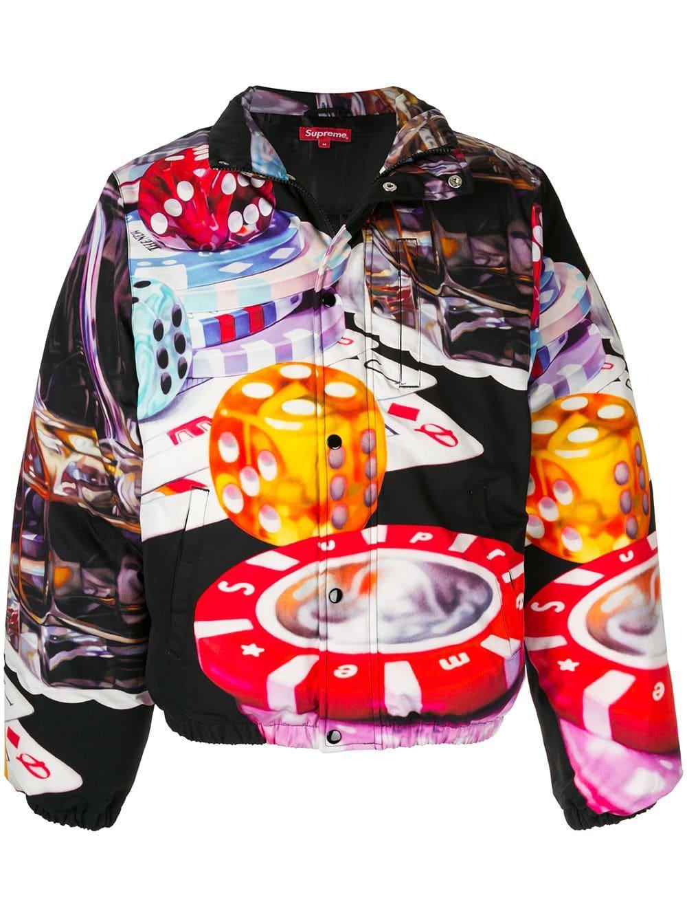 Supreme Casino Print Puffer Jacket In Black Modesens Puffer Jacket Black Streetwear Brands Jackets [ 1334 x 1000 Pixel ]
