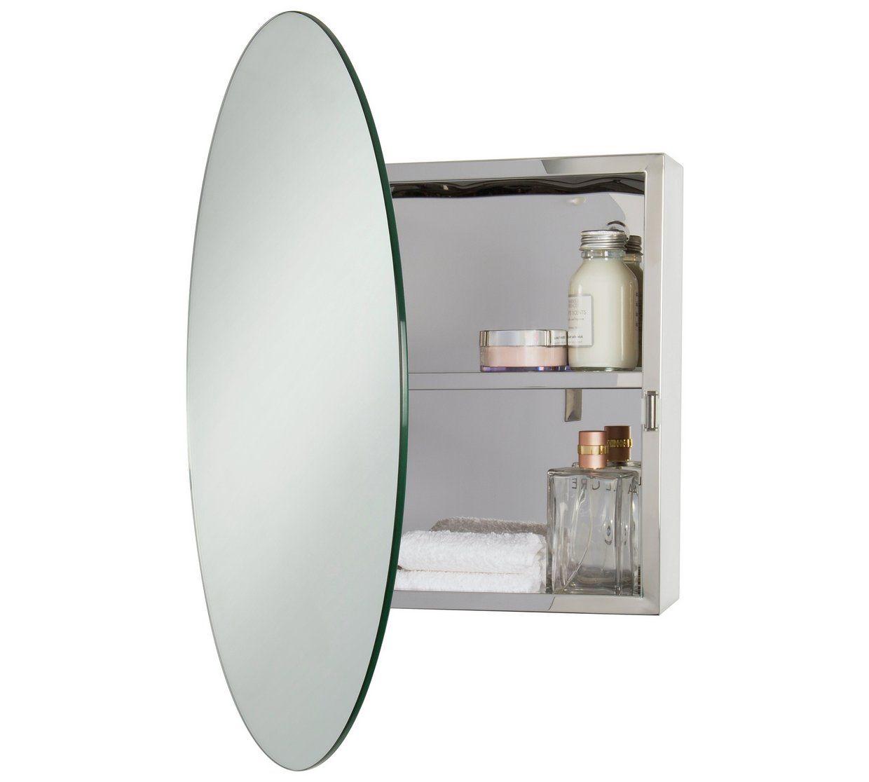 Buy Croydex Severn Round Stainless Steel Mirrored Door Cabinet Bathroom Wall Cabinets Argos Mirror Door Bathroom Wall Cabinets Stainless Steel Cabinets