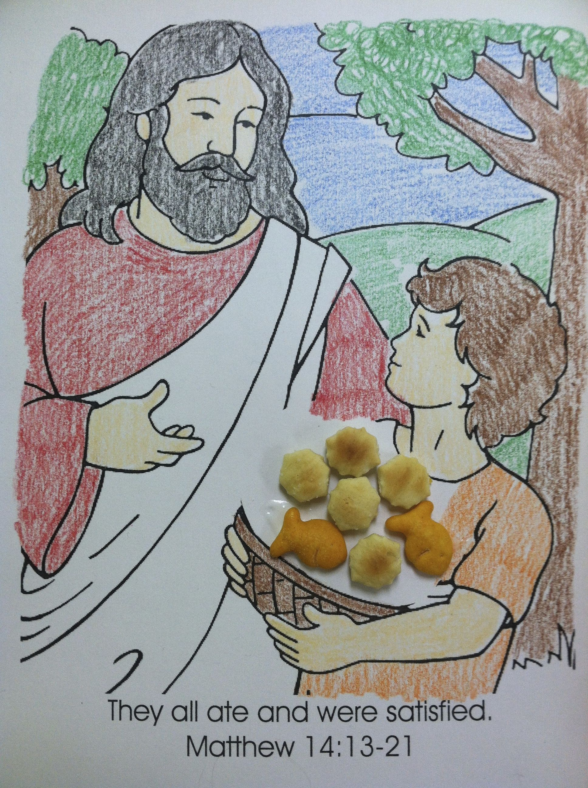 Bible Story: Jesus Feeds Five Thousand. I try not to use color ...