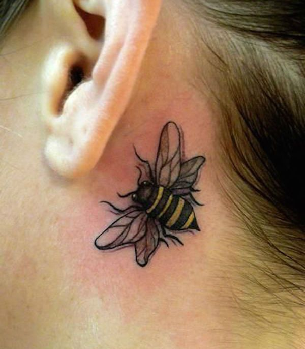 25 Subtle Behind The Ear Tattoos That Are Absolutely Perfect Bumble Bee Tattoo Honey Bee Tattoo Behind Ear Tattoos