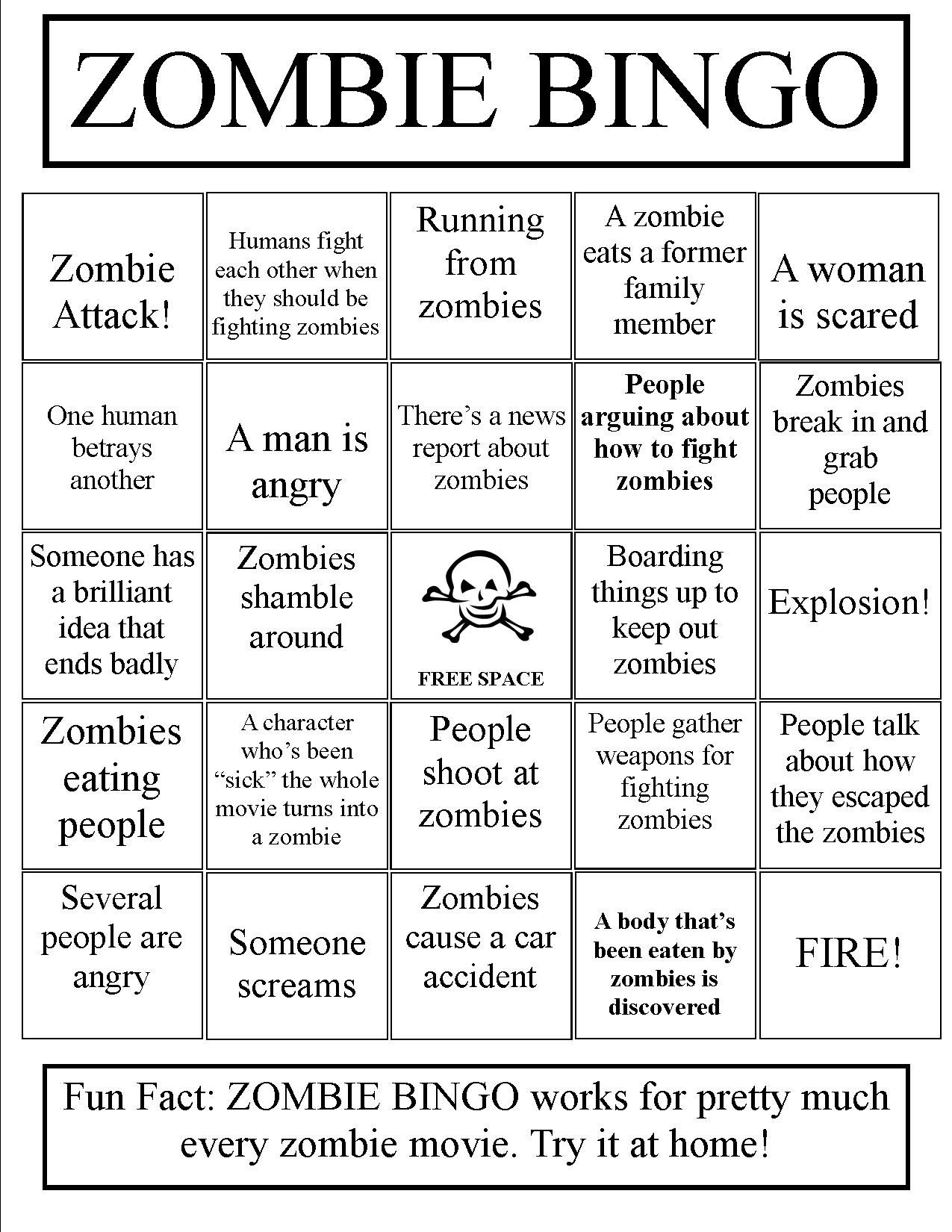 Zombie Bingo Play With Any Zombie Book Or Movie Could