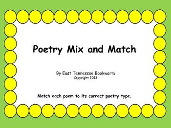 poetry mix and match crosscurricular literacy 4 12 poetry types of poems teaching poetry. Black Bedroom Furniture Sets. Home Design Ideas