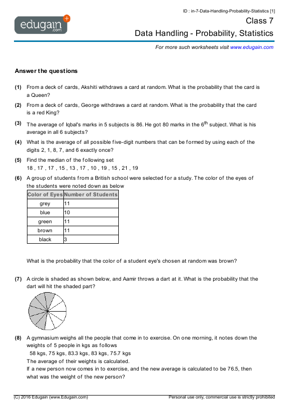 Grade 7 Data Handling Probability Statistics Png 579 819 Probability Worksheets Math Practice Worksheets Math Worksheets