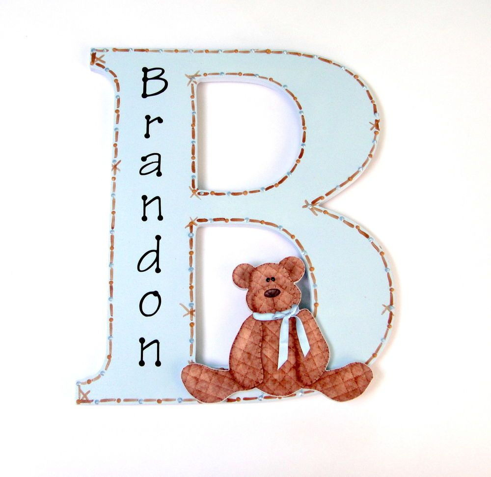 Children S Door Plaque Wood Personalised Letter Teddy Bear