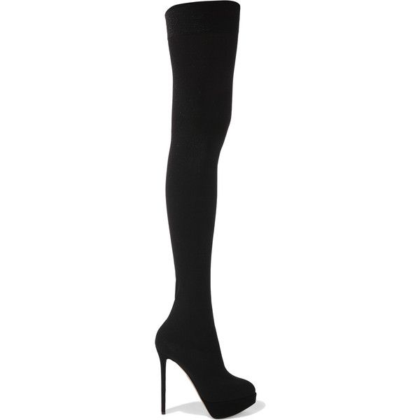 Charlotte Olympia Black Patent All Over Logo Heeled Over-the-Knee Boots