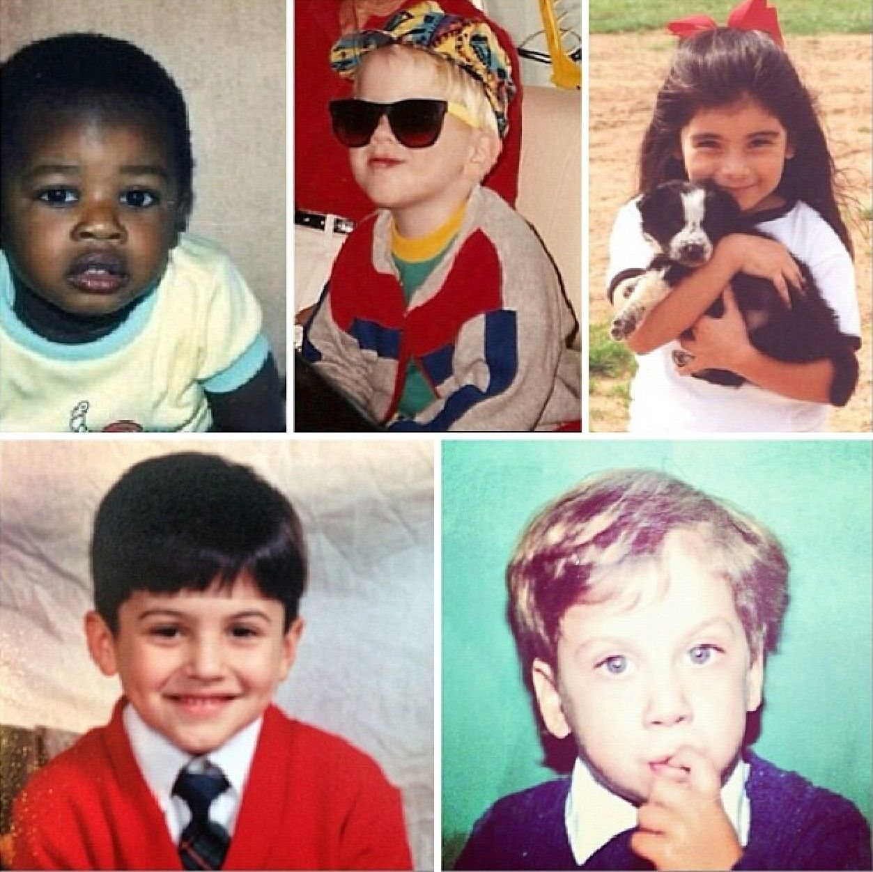 The five members of Pentatonix when they were younger  (Kevin, Scott