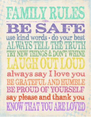Family Rules Subway Art in Rainbow Colors