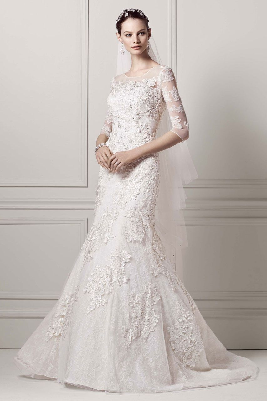 Davids Bridal Westfield Stratford City Sleeve Lace Trumpet Gown Style By Oleg Cassini