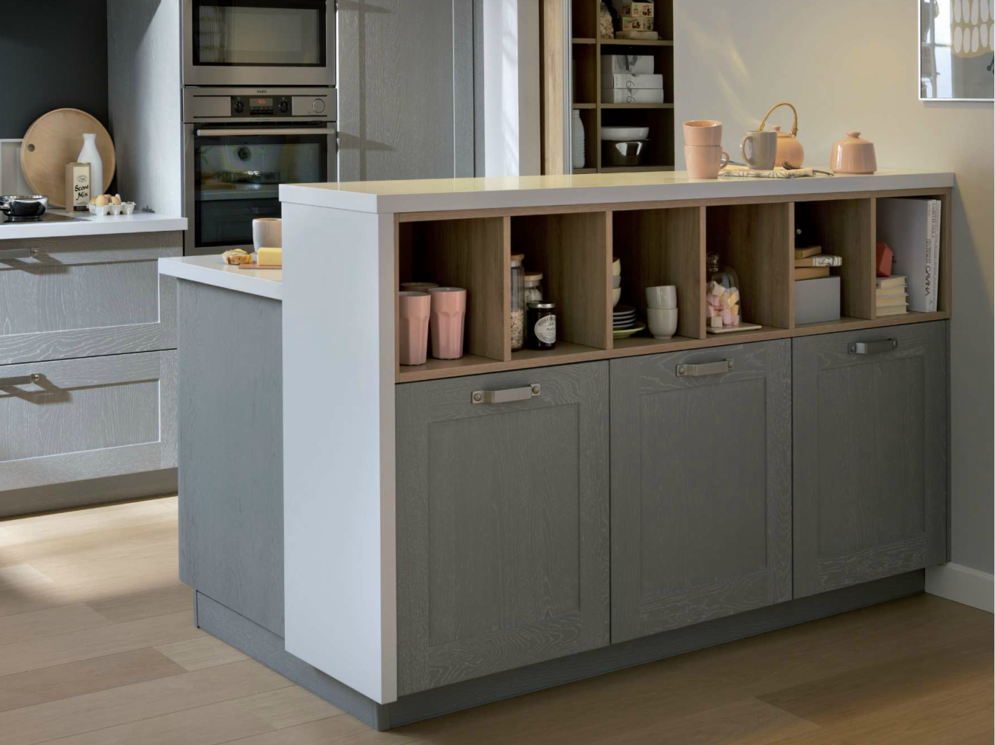 Captivating Back Side Of Island: Cabinets And Shelves At Bar Height. Schmidt