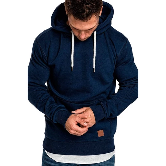 Generic Mens Casual Long Sleeve Hoodie Solid Thicken Pullover Sweatshirts