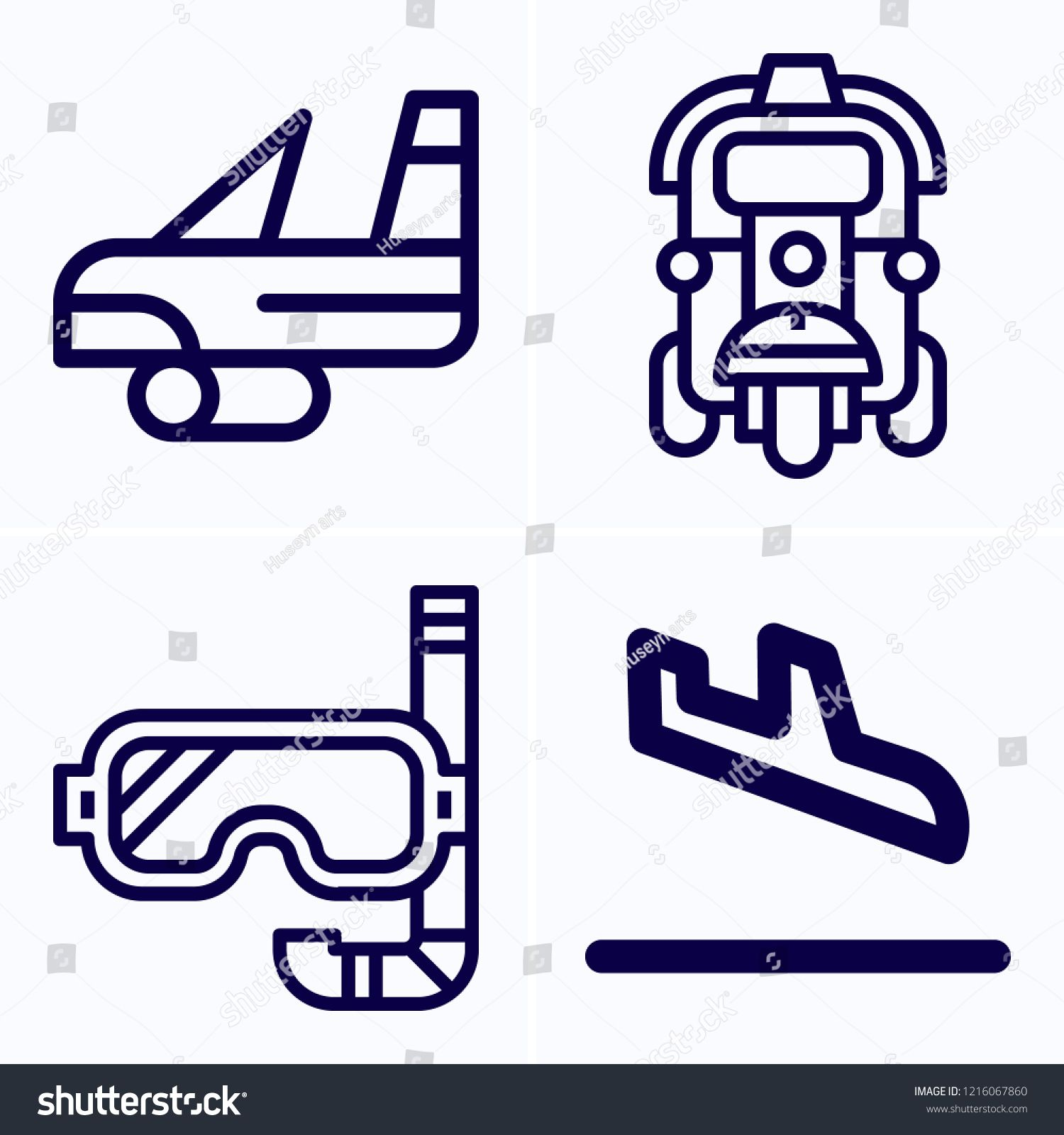 Simple set of 4 icons related to travel outline such as