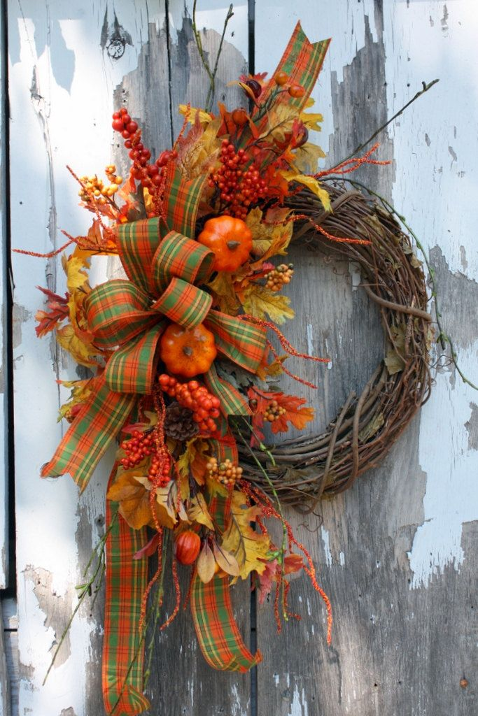 Fall Wreath, Pumpkins, Leaves, Plaid Bow via Etsy. Fall