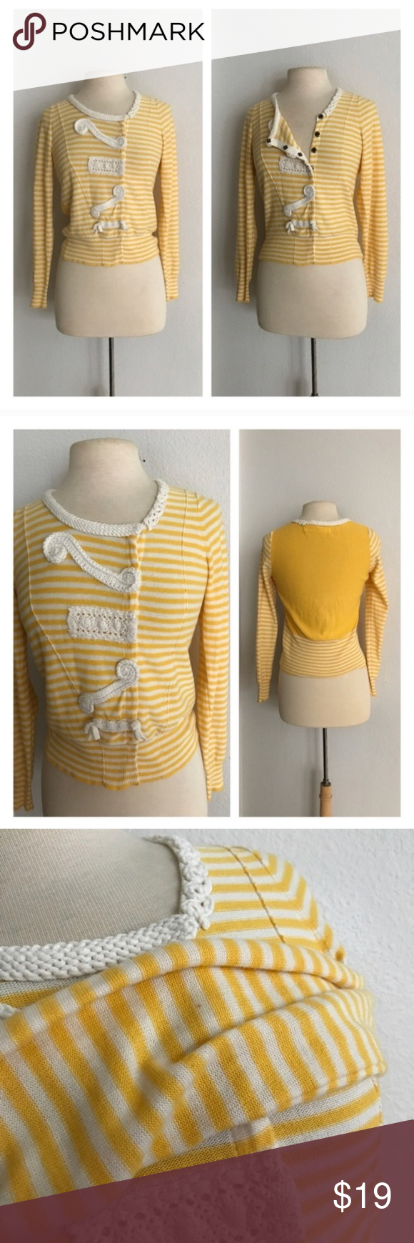 "Sparrow Loose Lines sweater Sparrow Loose Lines sweater. Size S. Measures 21"" long with a 32"" bust. Snap closures on the front. Lightweight and very stretchy. There is a mark on the left sleeve, but if you look closely it's a stitching error (it's yellow like the sweater). There is also a dark mark on the right sleeve. This has been washed and it did not come out. Both marks are on the inner part of the sleeves so the damage cannot be seen when worn 💲Reasonable offers accepted  ✅Bundle…"