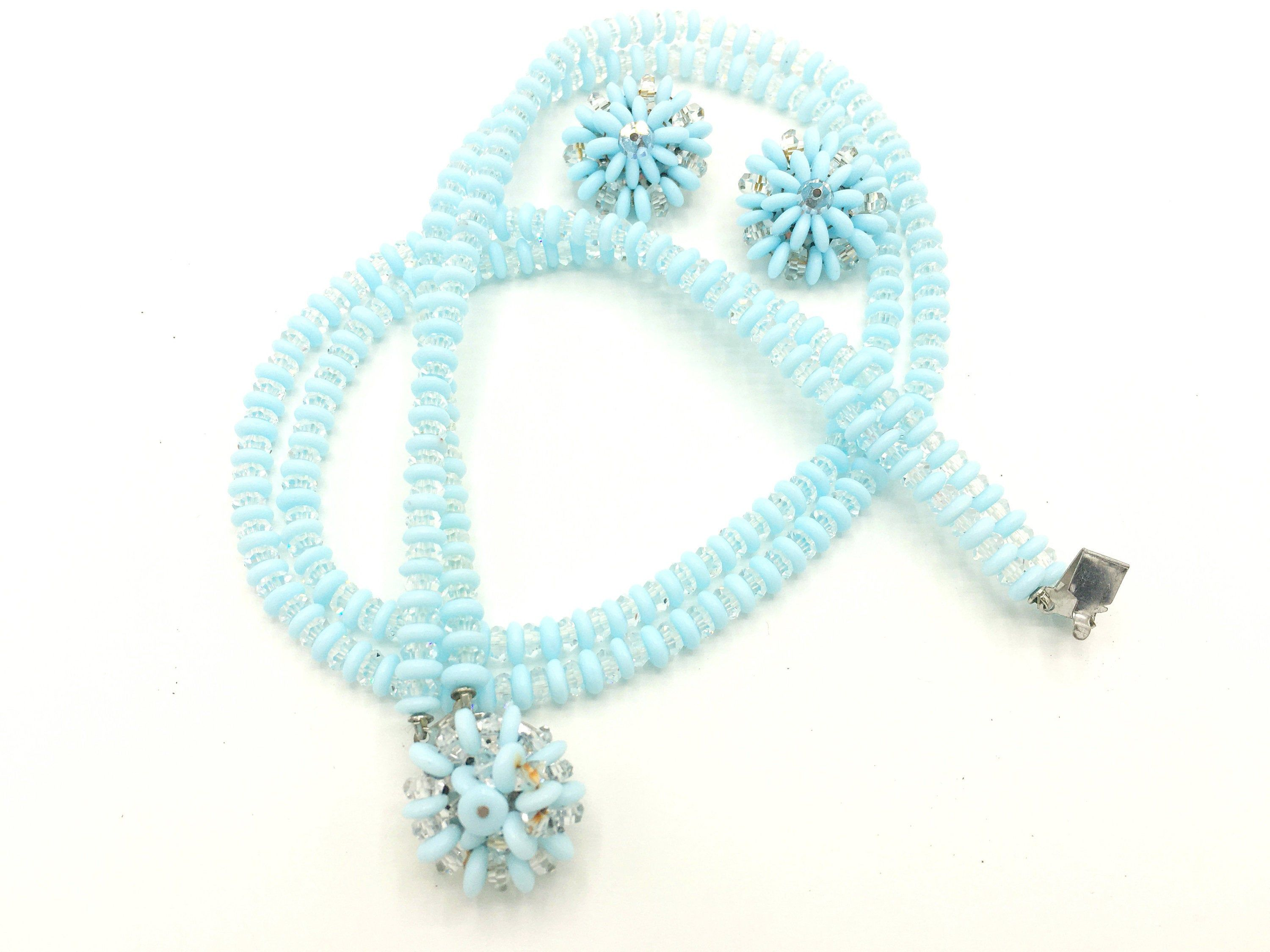 Vintage 1960/'s Blue and White Beaded Necklace and Earring Set