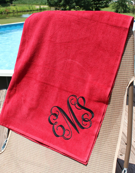Monogrammed Beach Towel Red Spring Break Graduation Beach