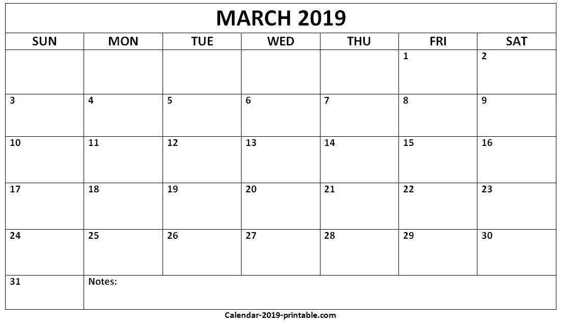 March 2019 Calendar With Notes March Calendar Printable