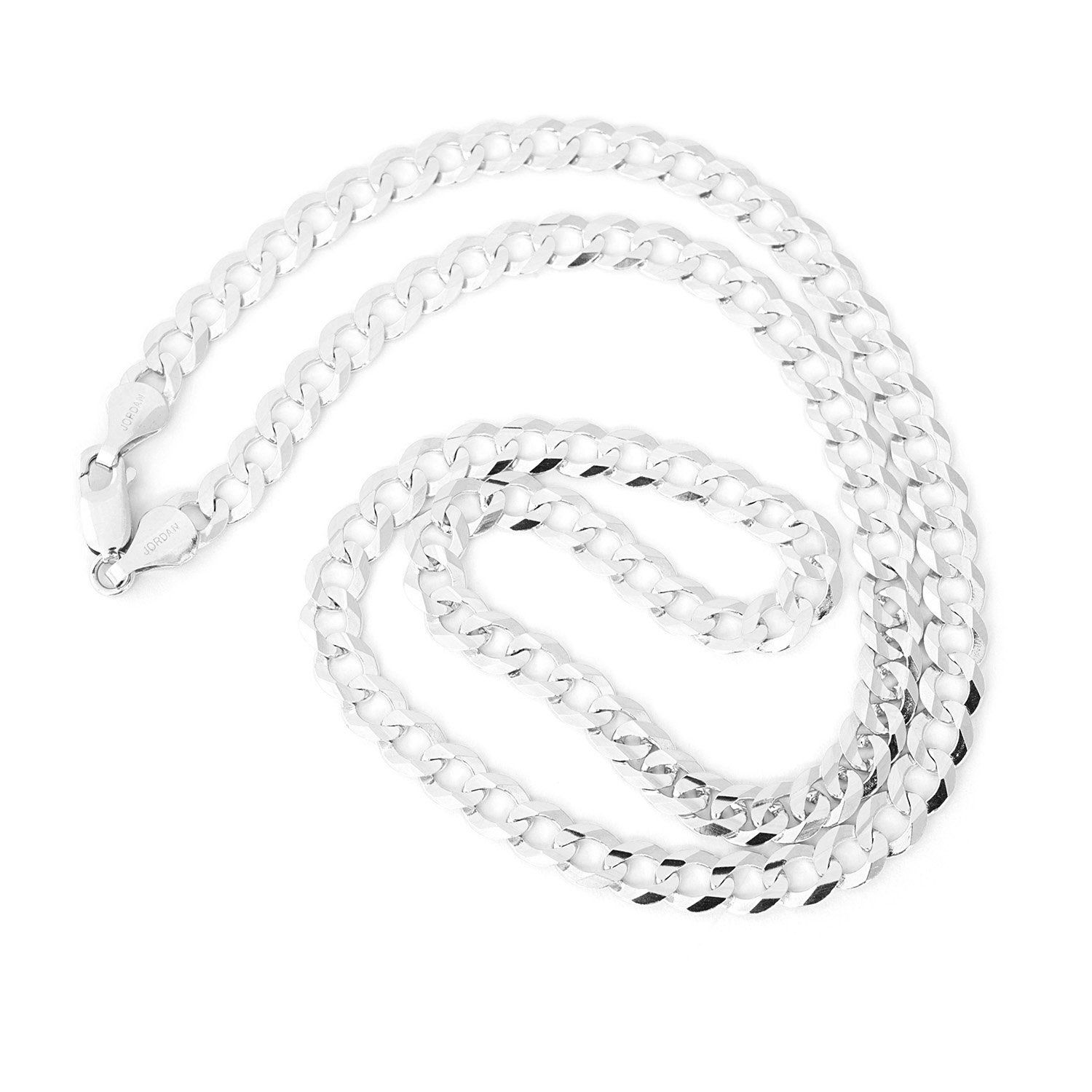 Solid 14k White Gold fort Cuban Curb 5 7mm Mens Chain Necklace