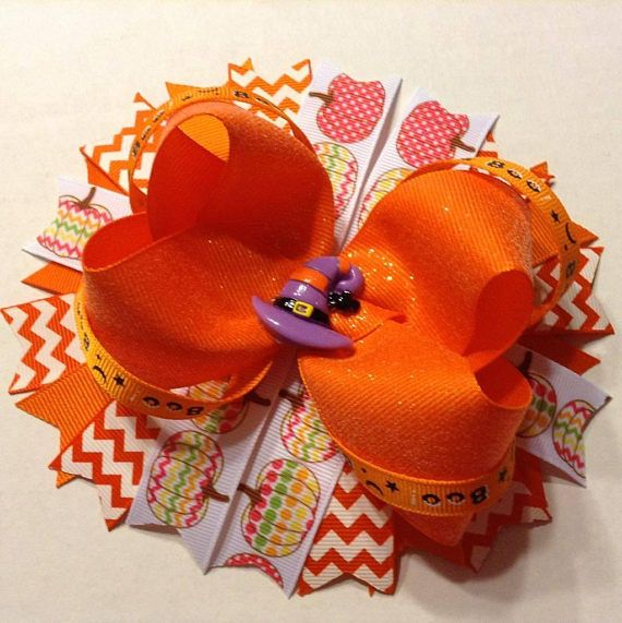 Halloween Hair Bow - Boutique Stacked Hair Bow, Pumpkin