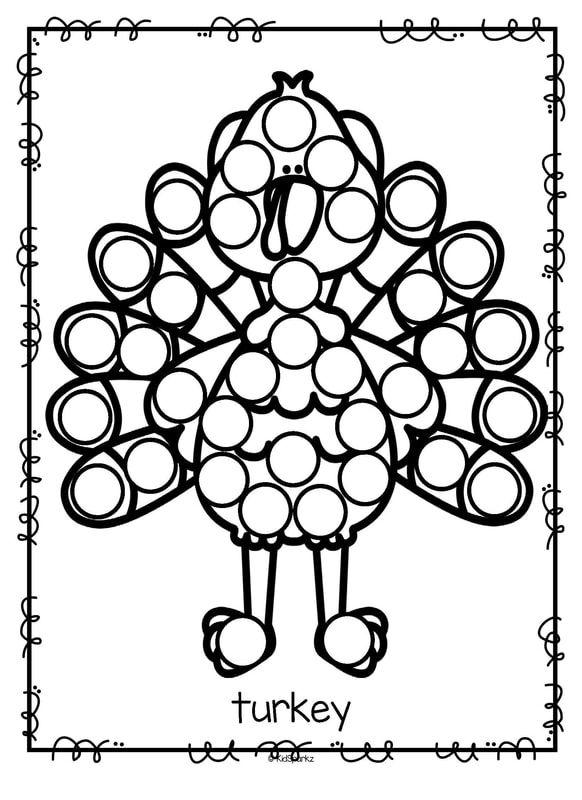 Turkey dot marker bingo dauber fine motor printable turkies